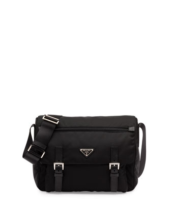 Vela Small Double-Pocket Messenger Bag, Black (Nero)