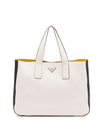 Vitello Daino Medium Open Wide-Strap Tote Bag, White/Black/Yellow (Talco+Nero)