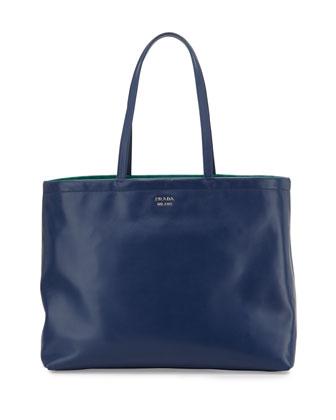 Soft Calfskin Reversible East-West Tote Bag, Dark Blue/Green (Bluette+Assenzio)