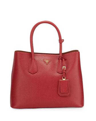 Saffiano Cuir Double Medium Tote Bag, Red/Caramel (Fuoco+Caramel)
