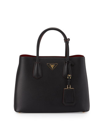 Saffiano Cuir Double Small Tote Bag, Black/Red (Nero+Fuoco)