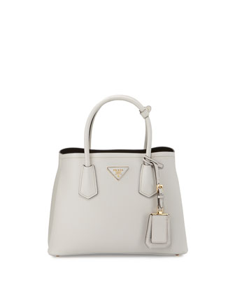 Mini Saffiano Cuir Tote Bag, White/Black (Talco+Nero)