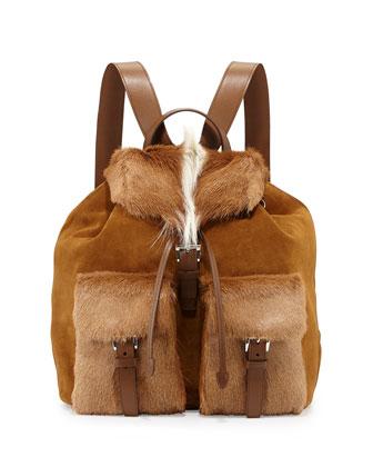 Springbok-Fur Suede Backpack, Brown/White