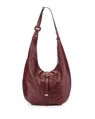Smooth-Leather Hobo Bag, Syrah