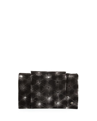 Embellished-Leather Wallet-On-A-Chain, Black/Silver