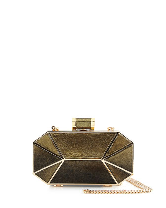 Leather Octagonal Minaudiere Evening Clutch Bag, Black/Gold
