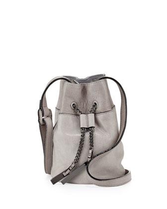 Drawstring Leather Bucket Bag, Heather Gray