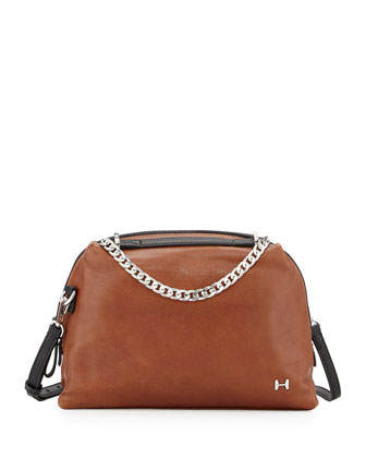 Two-Tone Leather Satchel Bag, Caramel Multi