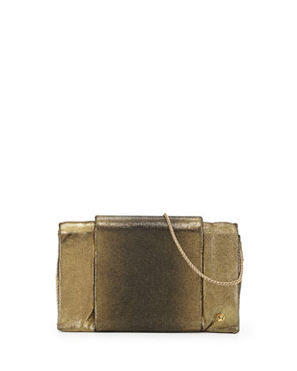 Metallic-Leather Wallet-On-A-Chain, Black/Gold