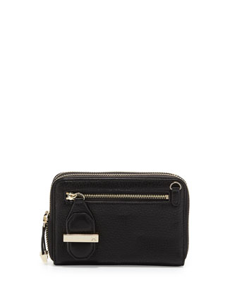 Double-Zip Mini Leather Wallet, Black