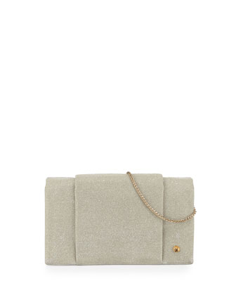 Metallic-Leather Wallet-On-A-Chain, Pale Gold