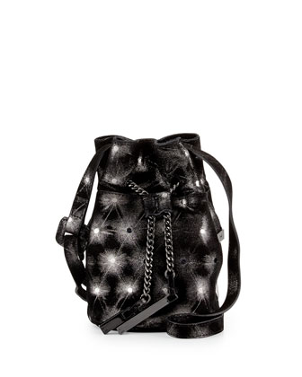 Metallic-Leather Mini Bucket Bag, Black/Silver