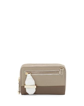 Double-Zip Mini Leather Wallet, Fatigue Multi