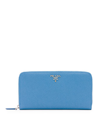 Saffiano Leather Oro Zip-Around Wallet, Light Blue (Mare)