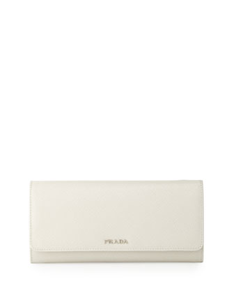 Saffiano Bicolor Wallet-on-a-Chain, White/Black (Talco/Nero)