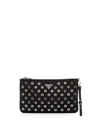 Tessuto Vela Grommet Wristlet Bag, Black (Nero)
