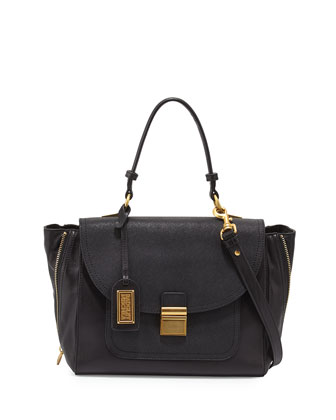 Willa Flap-Top Leather Satchel Bag, Black