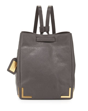 Linda Pebbled-Leather Backpack, Charcoal