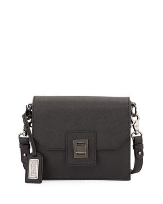 Jean Saffiano Leather Crossbody Bag, Black