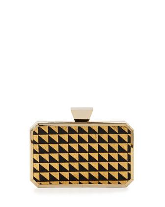 Greta Geometric-Print Calf-Hair Minaudiere Evening Clutch Bag