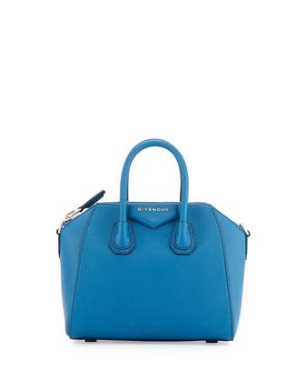 Mini Antigona Leather Satchel Bag, Electric Blue