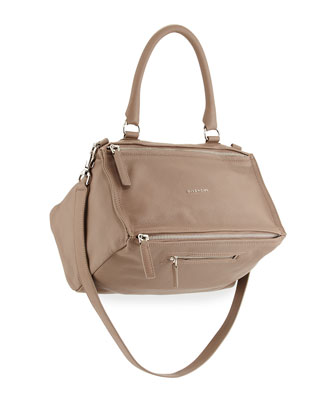 Pandora Medium Leather Satchel Bag, Sand