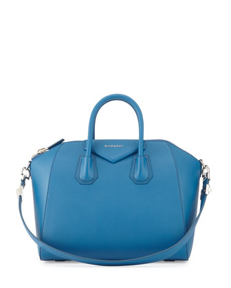 Antigona Medium Sugar Goatskin Satchel Bag, Electric Blue