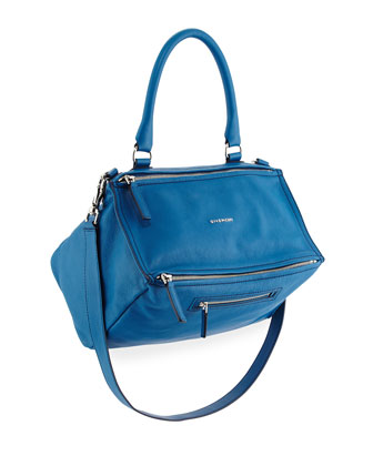 Pandora Medium Leather Satchel Bag, Electric Blue