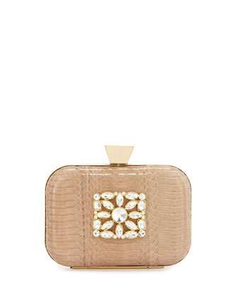 Mallory Watersnake Minaudiere Evening Clutch Bag, Natural