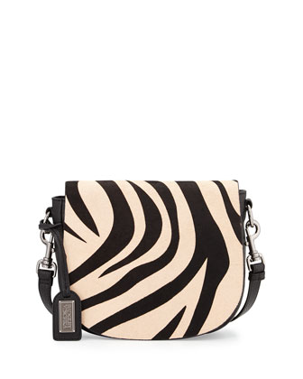 Khloe Zebra-Print Calf-Hair & Leather Crossbody Bag, Black/Natural