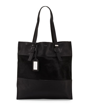 Liv Calf-Hair/Leather Tote Bag, Black