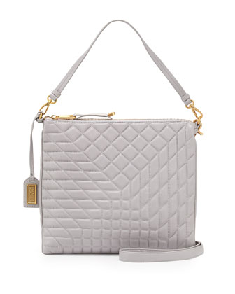 Coralie Quilted Leather Shoulder Bag, Dove Gray
