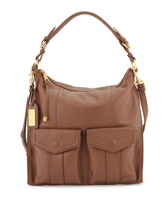 Leia Leather Satchel Bag, Cappuccino