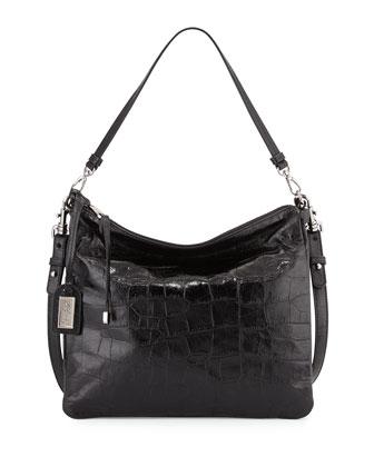 Coralie Crocodile-Embossed Leather Satchel Bag, Black