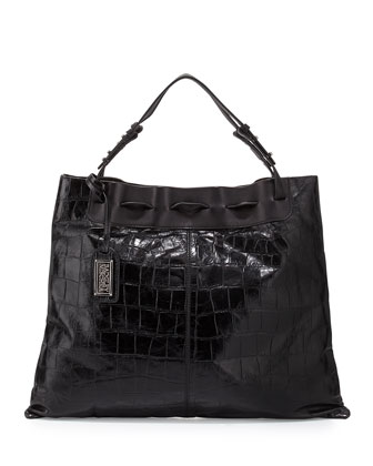 Adalyn Crocodile-Embossed Leather Shoulder Bag, Black