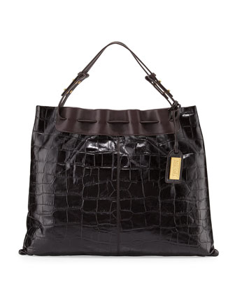 Adalyn Crocodile-Embossed Leather Shoulder Bag, Espresso