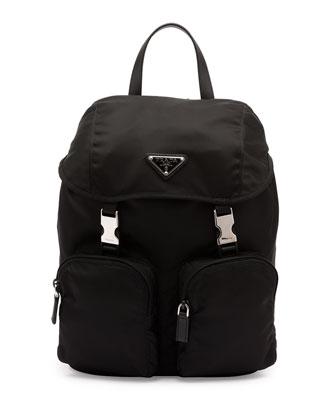 Vela Large Zip-Front Backpack, Black