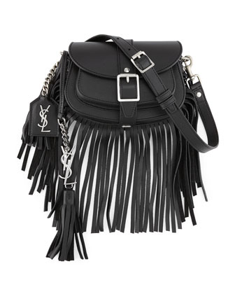 Mini Curved Fringe Saddle Bag, Black