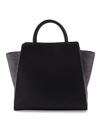 Eartha North-South Leather Satchel Bag, Charcoal
