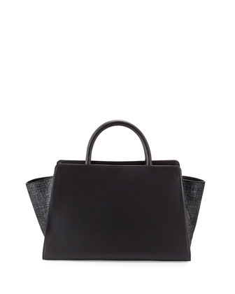Eartha East/West Leather Satchel Bag, Black