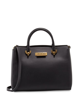 Eartha Leather Barrel Satchel Bag, Black
