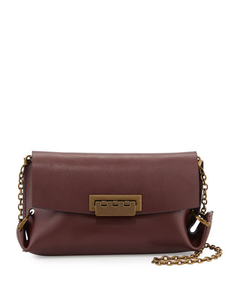 Eartha Folded-Gusset Leather Crossbody Bag, Vino