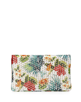 Loubiposh Hawaii Clutch Bag, White/Silver
