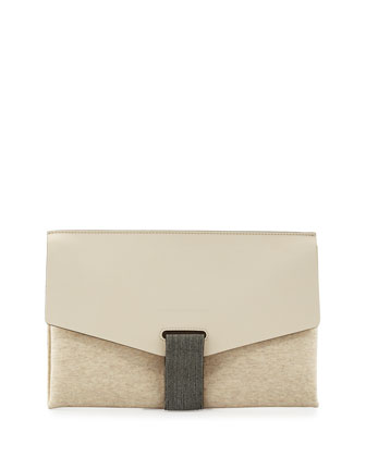 Monili-Tab Leather Flap Clutch Bag, Cream