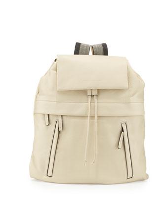Calfskin Backpack w/ Monili Straps, Vanilla