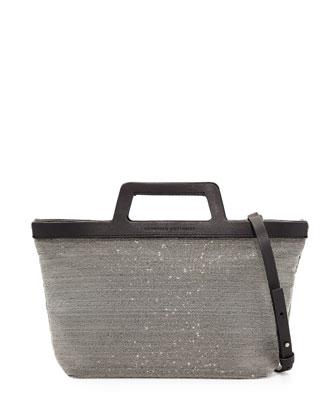 Mini Monili Tote Bag, Black/Silver