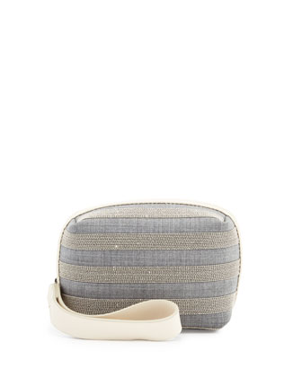 Monili Striped Cube Wristlet Bag, Gray