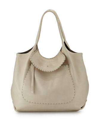 Canotta Hippie Leather Shoulder Bag, Cream