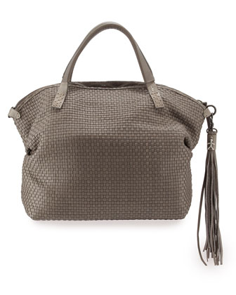 Julie Woven Leather Satchel Bag, Gray