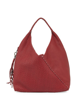 Woven Canotta Leather Crossover Hobo Bag, Red